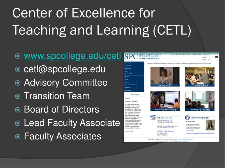 Center of Excellence for Teaching and Learning (CETL)