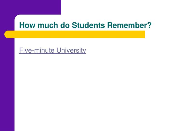 How much do Students Remember?