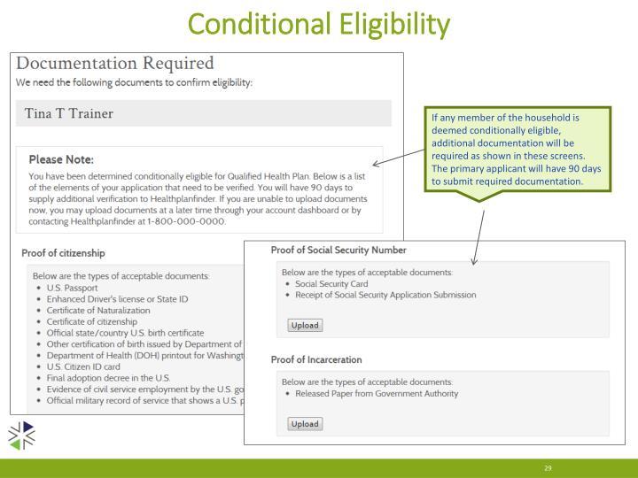 Conditional Eligibility