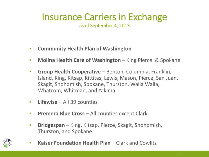 Insurance Carriers in Exchange