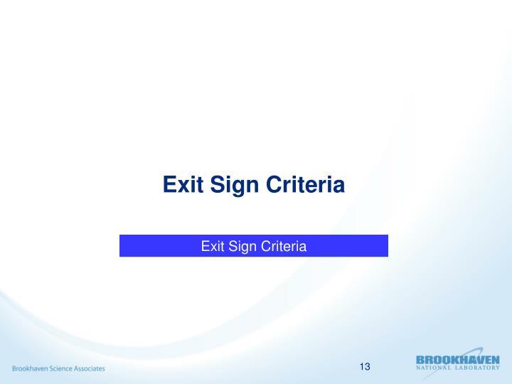 Exit Sign Criteria