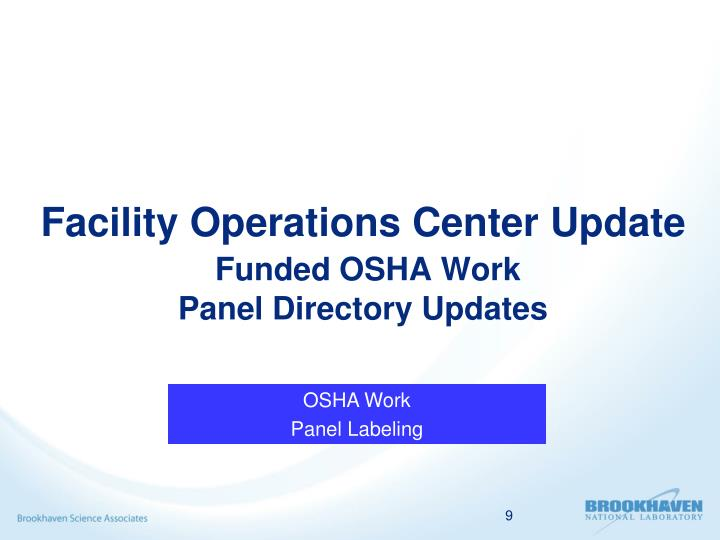 Facility Operations Center Update