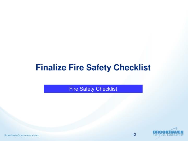 Finalize Fire Safety Checklist