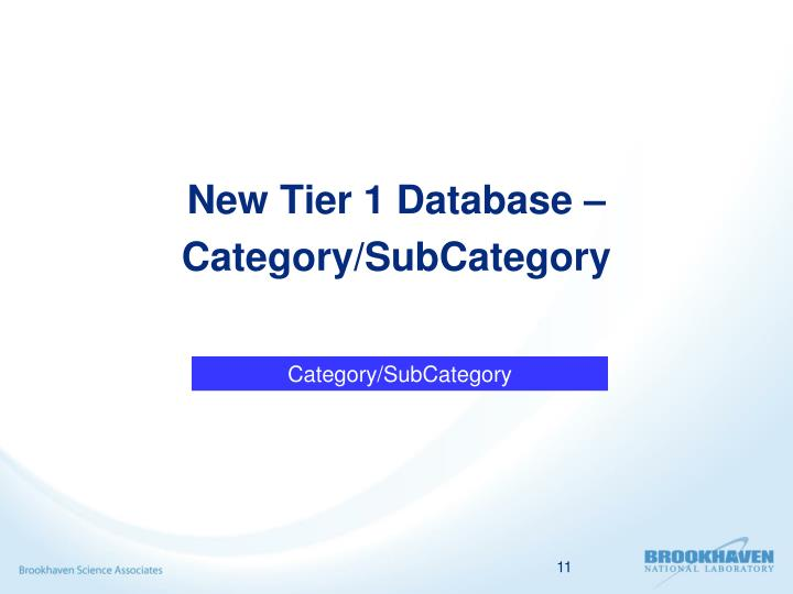 New Tier 1 Database –Category/SubCategory