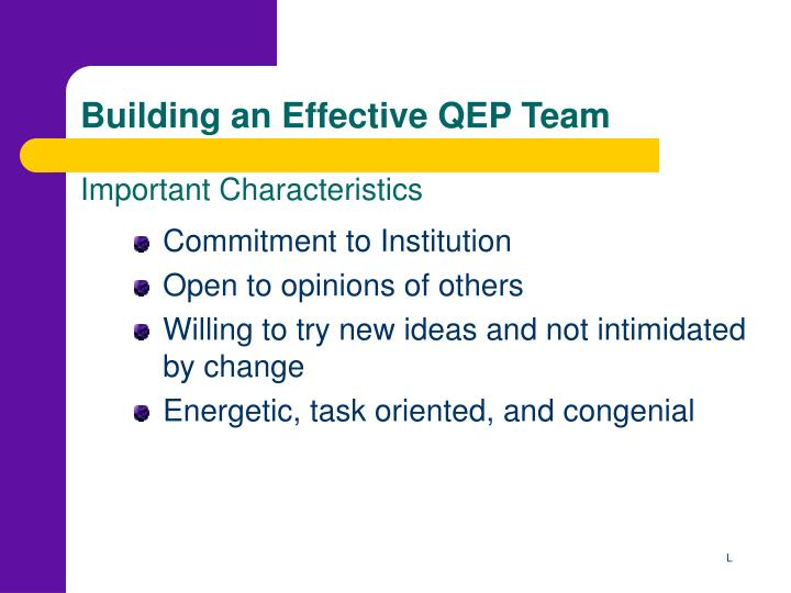 Building an effective qep team important characteristics