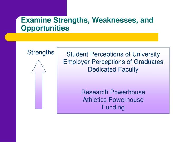 Examine Strengths, Weaknesses, and Opportunities