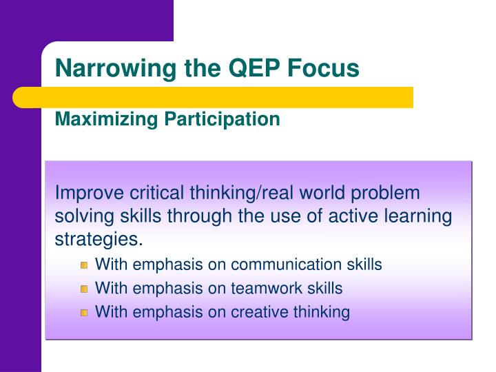 Narrowing the QEP Focus