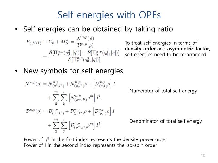 Self energies with OPEs