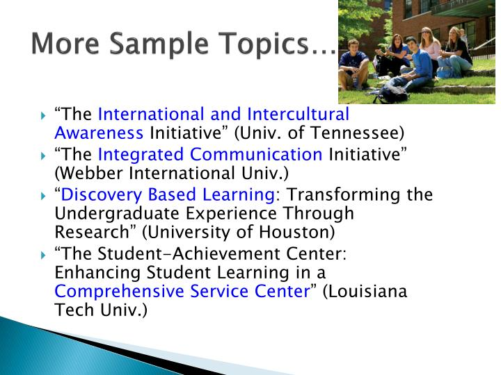 More Sample Topics…
