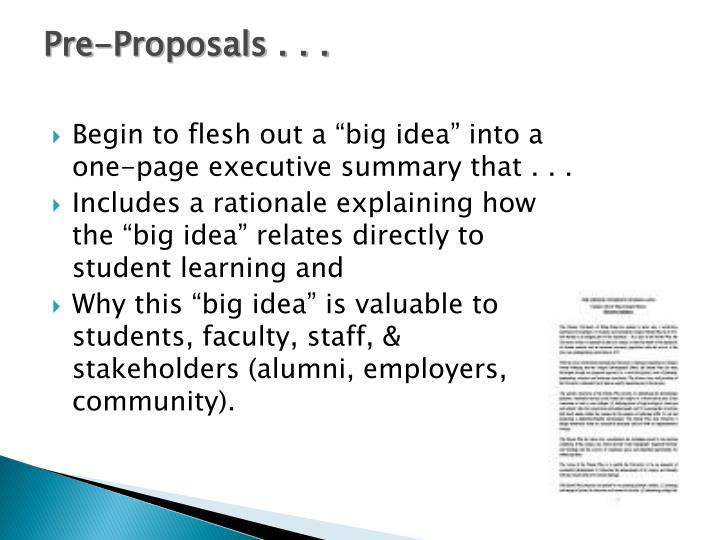 Pre-Proposals . . .