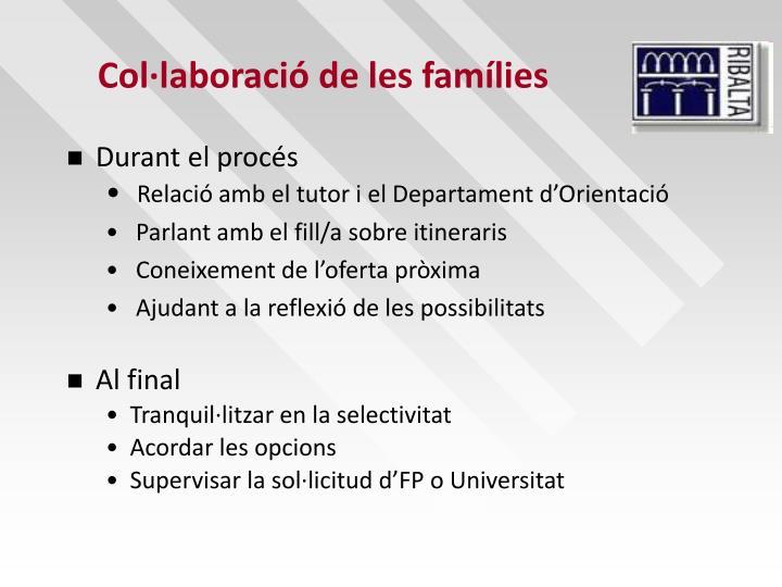 Col·laboració de les famílies