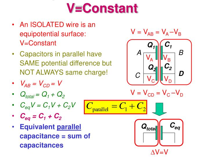 Capacitors in parallel v constant