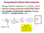 energy stored in electric field of capacitor