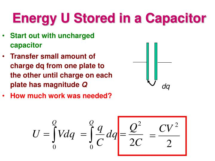 Energy U Stored in a Capacitor