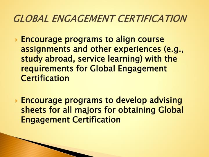 GLOBAL ENGAGEMENT CERTIFICATION