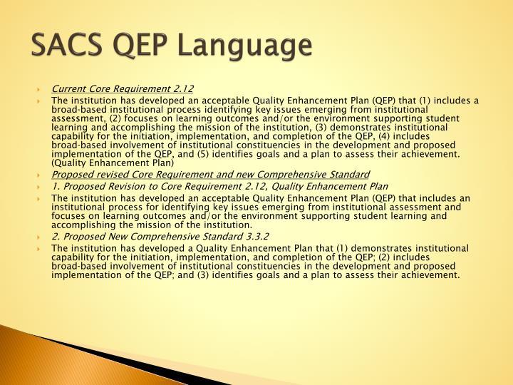SACS QEP Language