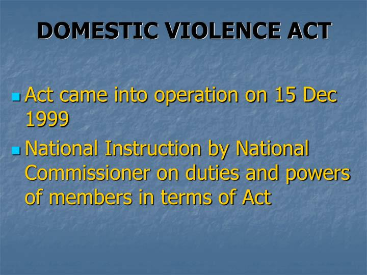 DOMESTIC VIOLENCE ACT