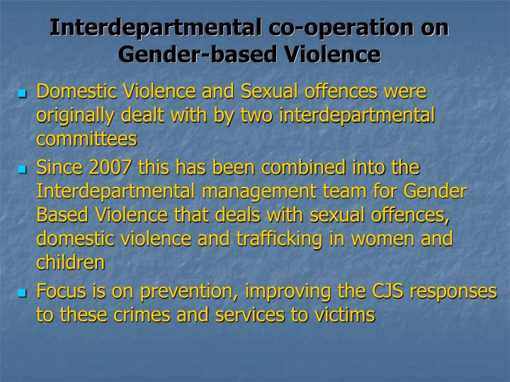 Interdepartmental co-operation on Gender-based Violence