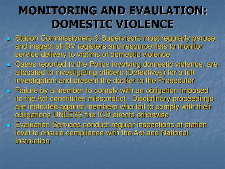 MONITORING AND EVAULATION: DOMESTIC VIOLENCE