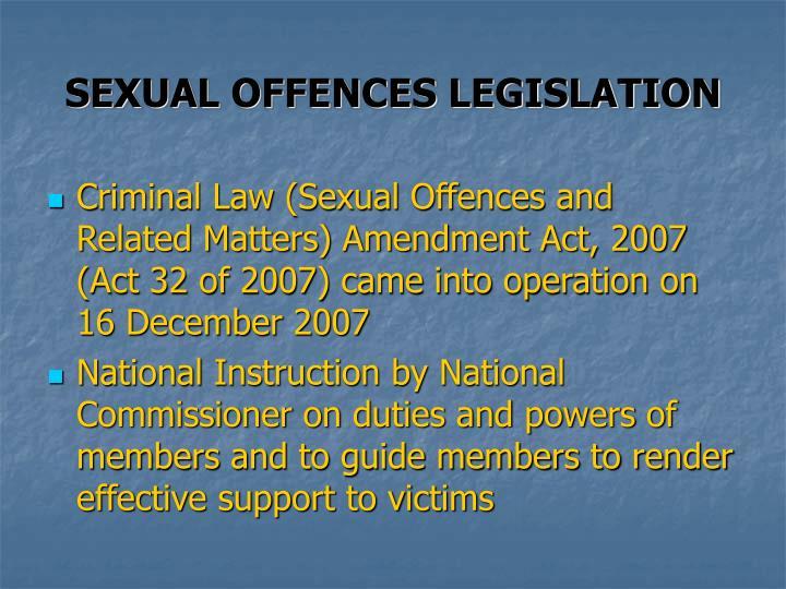 SEXUAL OFFENCES LEGISLATION