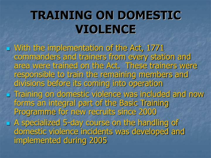 TRAINING ON DOMESTIC VIOLENCE