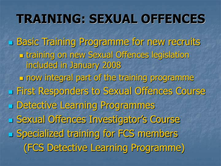 TRAINING: SEXUAL OFFENCES