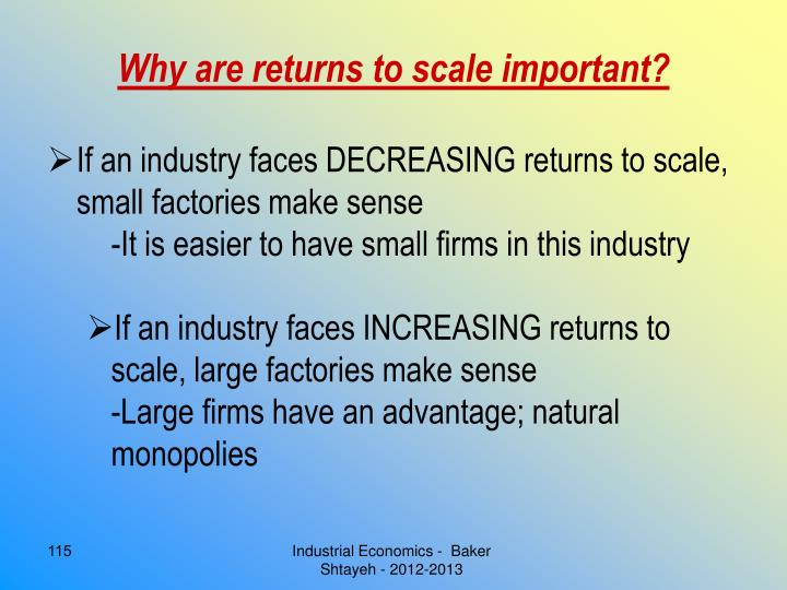 Why are returns to scale important?