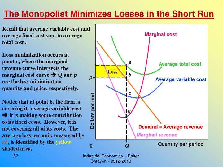 The Monopolist Minimizes Losses in the Short Run