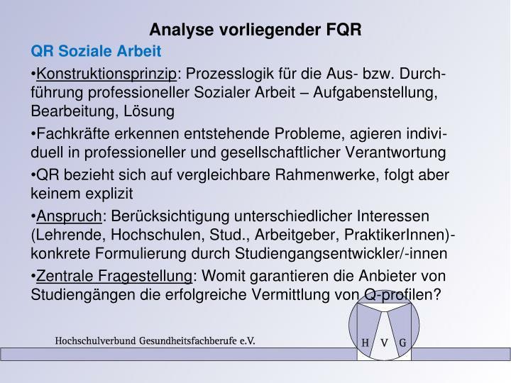 Analyse vorliegender FQR