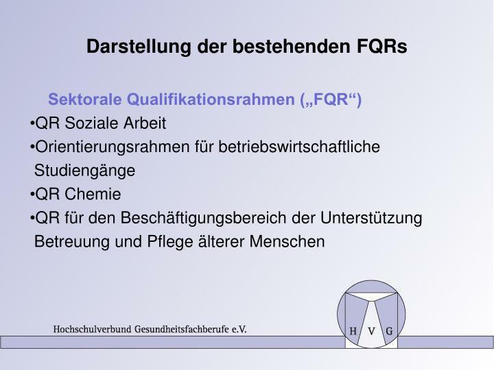 Darstellung der bestehenden FQRs