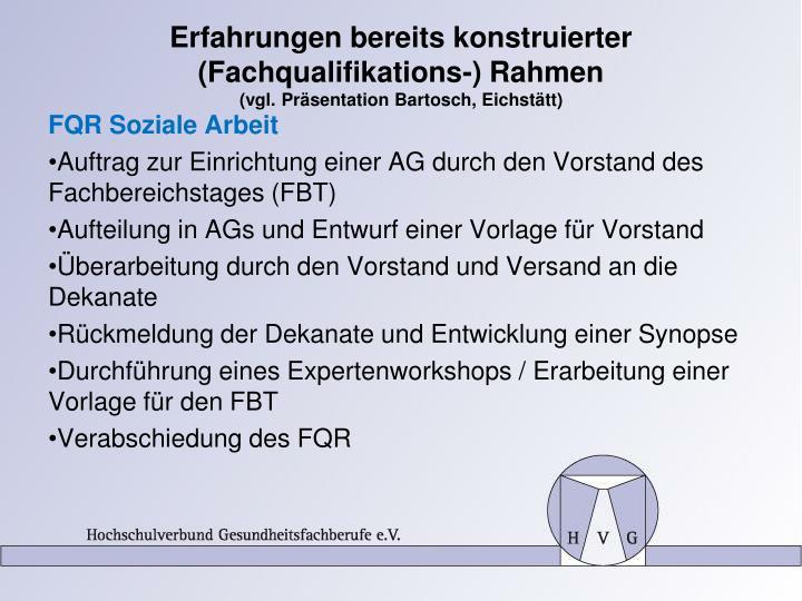 Erfahrungen bereits konstruierter  (Fachqualifikations-) Rahmen