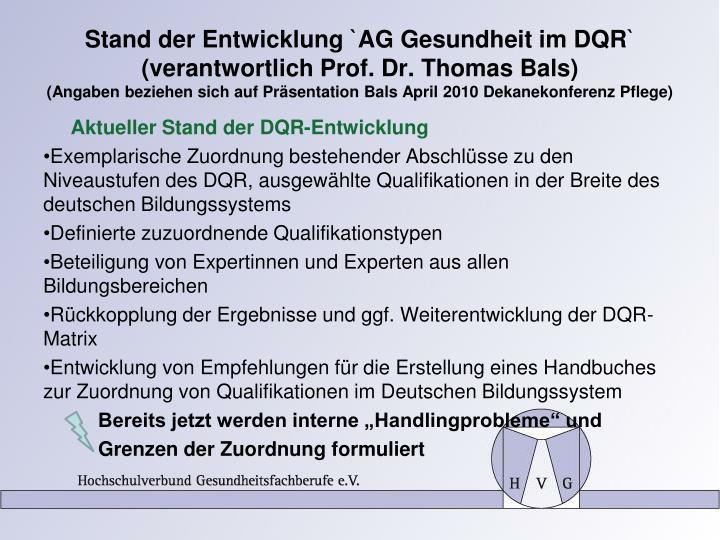 Stand der Entwicklung `AG Gesundheit im DQR`
