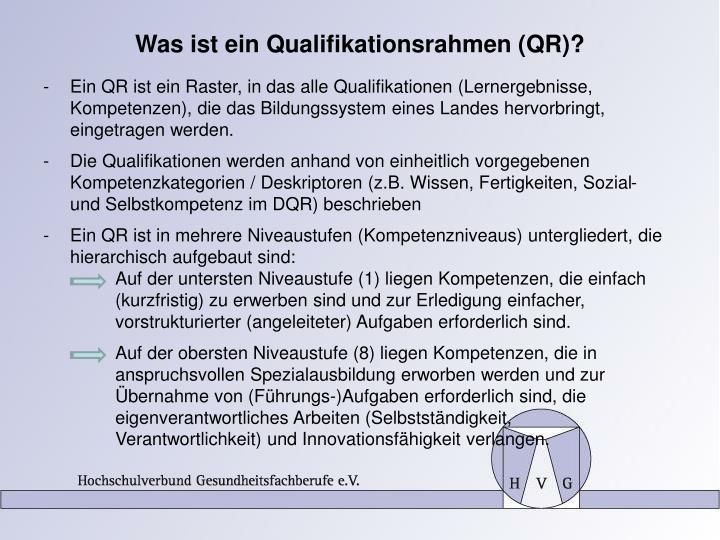 Was ist ein Qualifikationsrahmen (QR)?