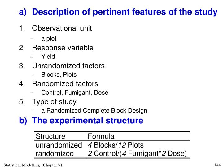 a)	Description of pertinent features of the study
