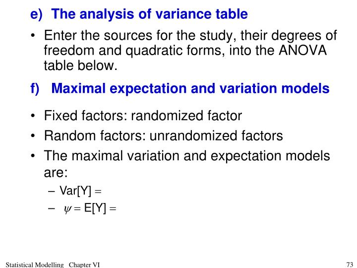 e)	The analysis of variance table