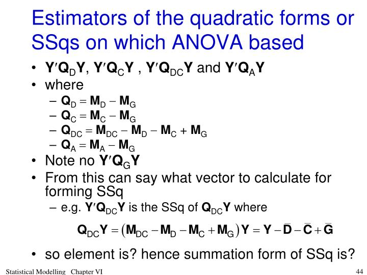 Estimators of the quadratic forms or SSqs on which ANOVA based