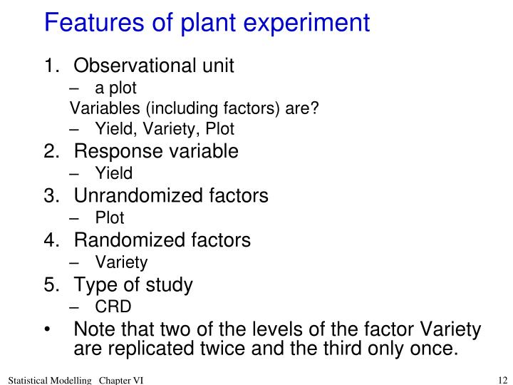 Features of plant experiment