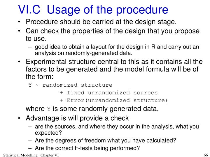 VI.C	Usage of the procedure