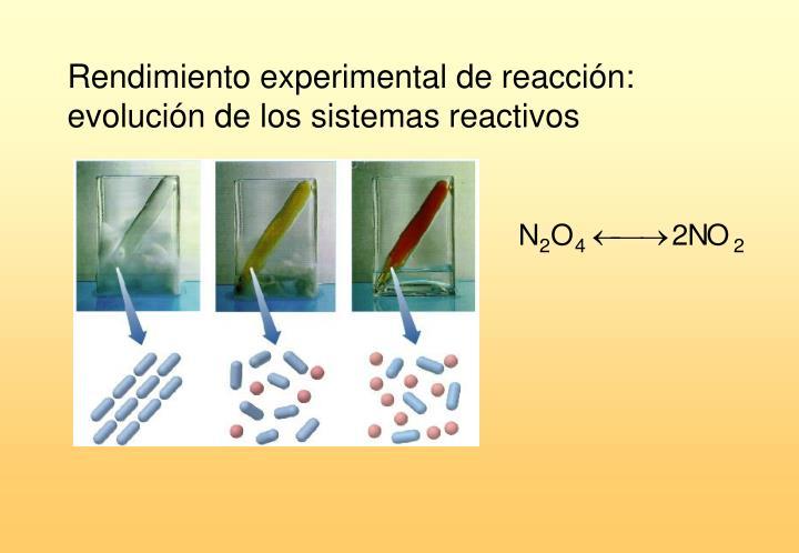 Rendimiento experimental de reacción: