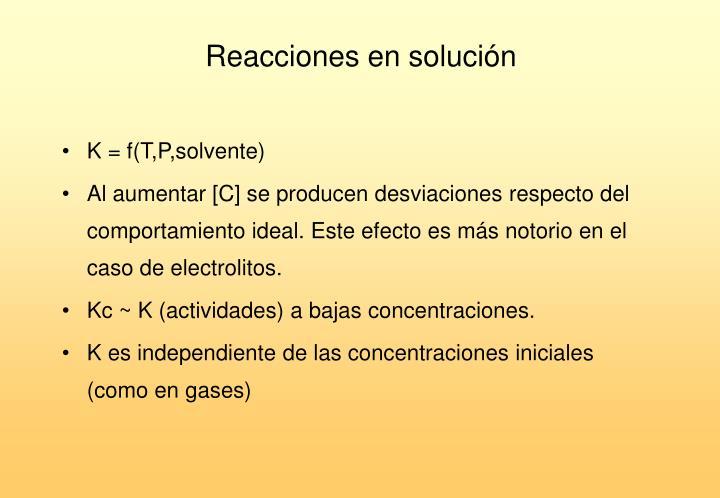 Reacciones en solución