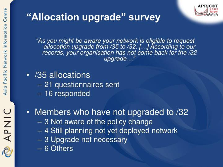 """Allocation upgrade"" survey"