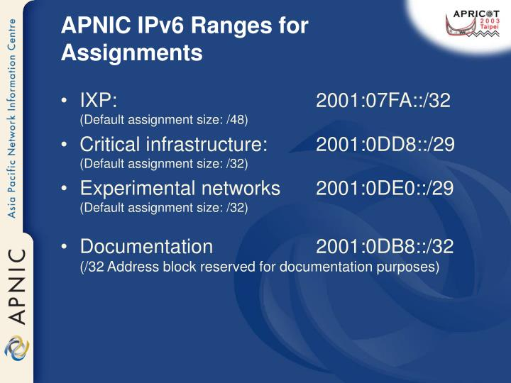 APNIC IPv6 Ranges for Assignments