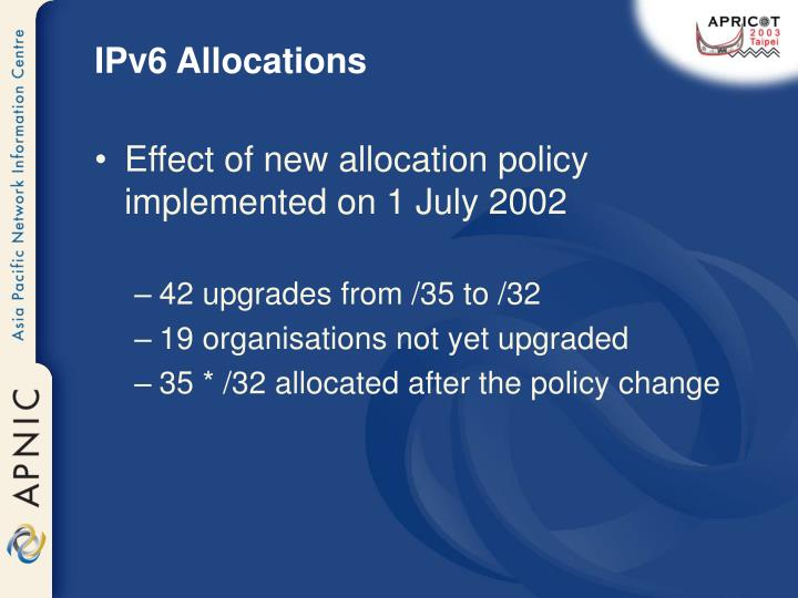 IPv6 Allocations
