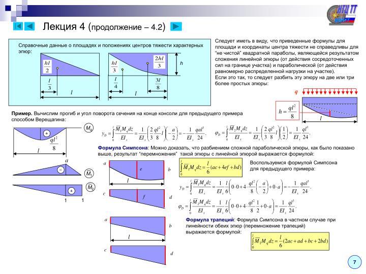 Справочные данные о площадях и положениях центров тяжести характерных эпюр