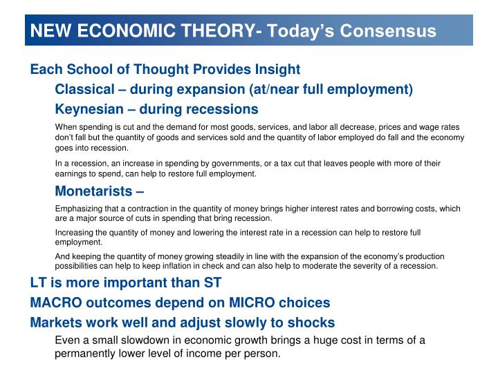 NEW ECONOMIC THEORY- Today's Consensus