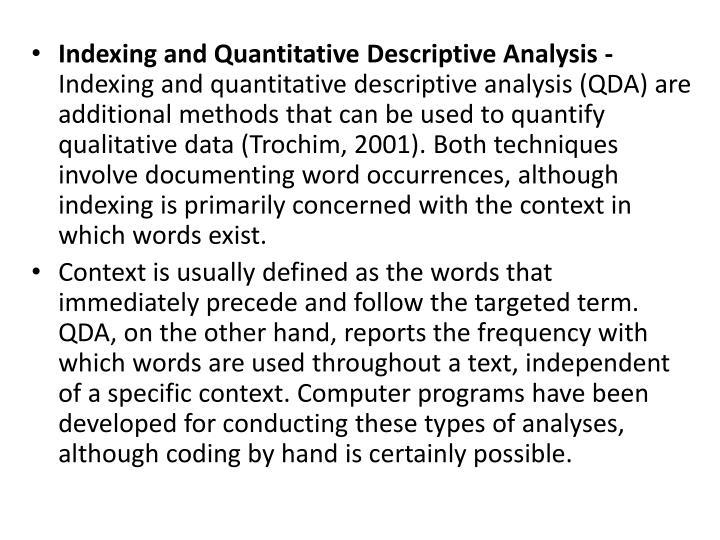 Indexing and Quantitative Descriptive Analysis -