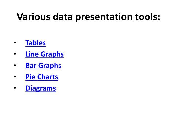 Various data presentation tools: