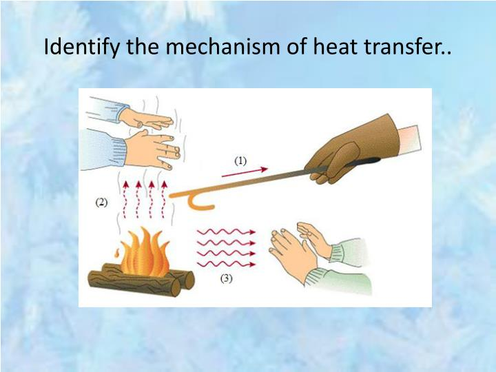 Identify the mechanism of heat transfer..