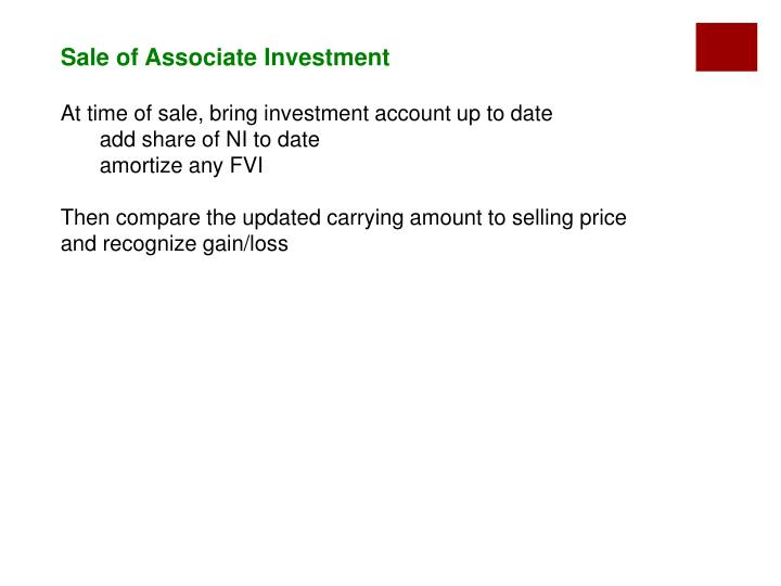 Sale of Associate Investment