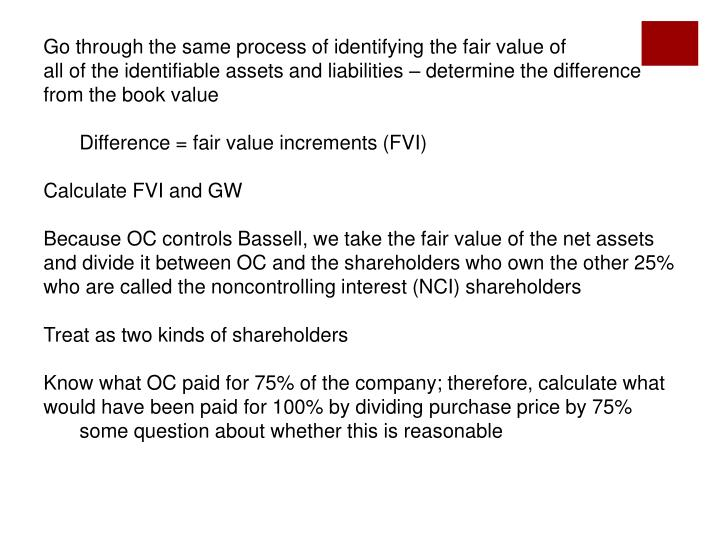 Go through the same process of identifying the fair value of